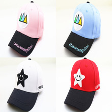 Korean Childrens Hat Wholesale Spring Outdoor Kids Little Star Smile Face Color Caps Hip-hop Baseball For Boys Girls