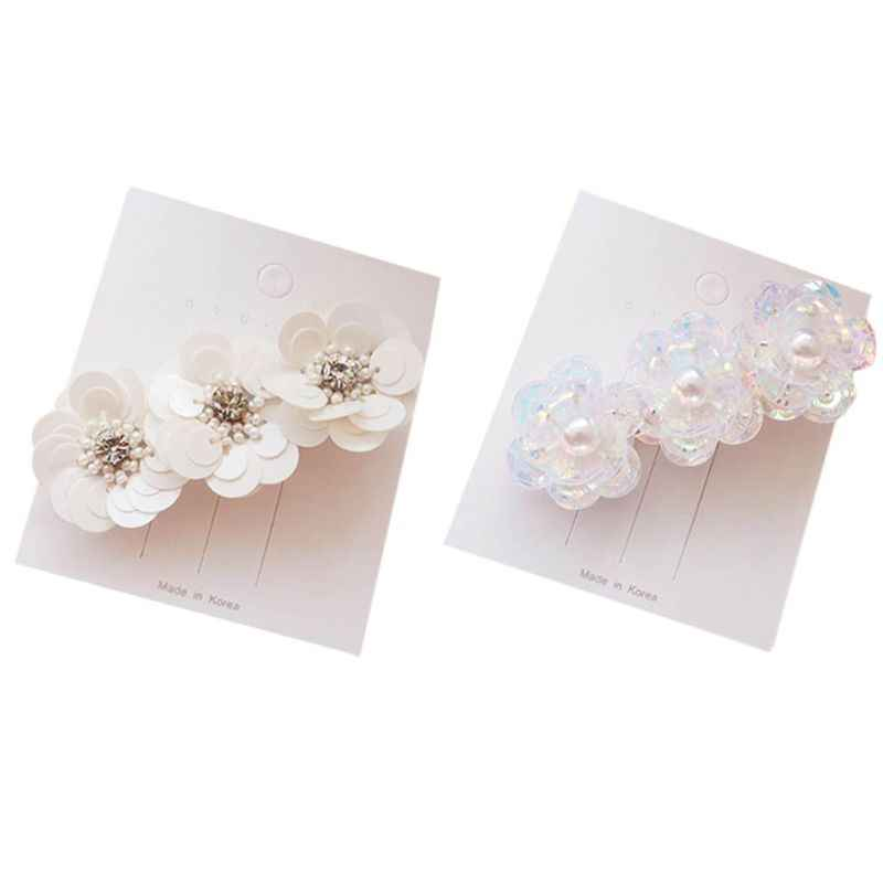 Ladies Korean Duckbill Hair Clips Sequins Petals Flower Imitation Pearl Hairpins Glitter Rhinestone Sweet Girls Bridal Barrettes