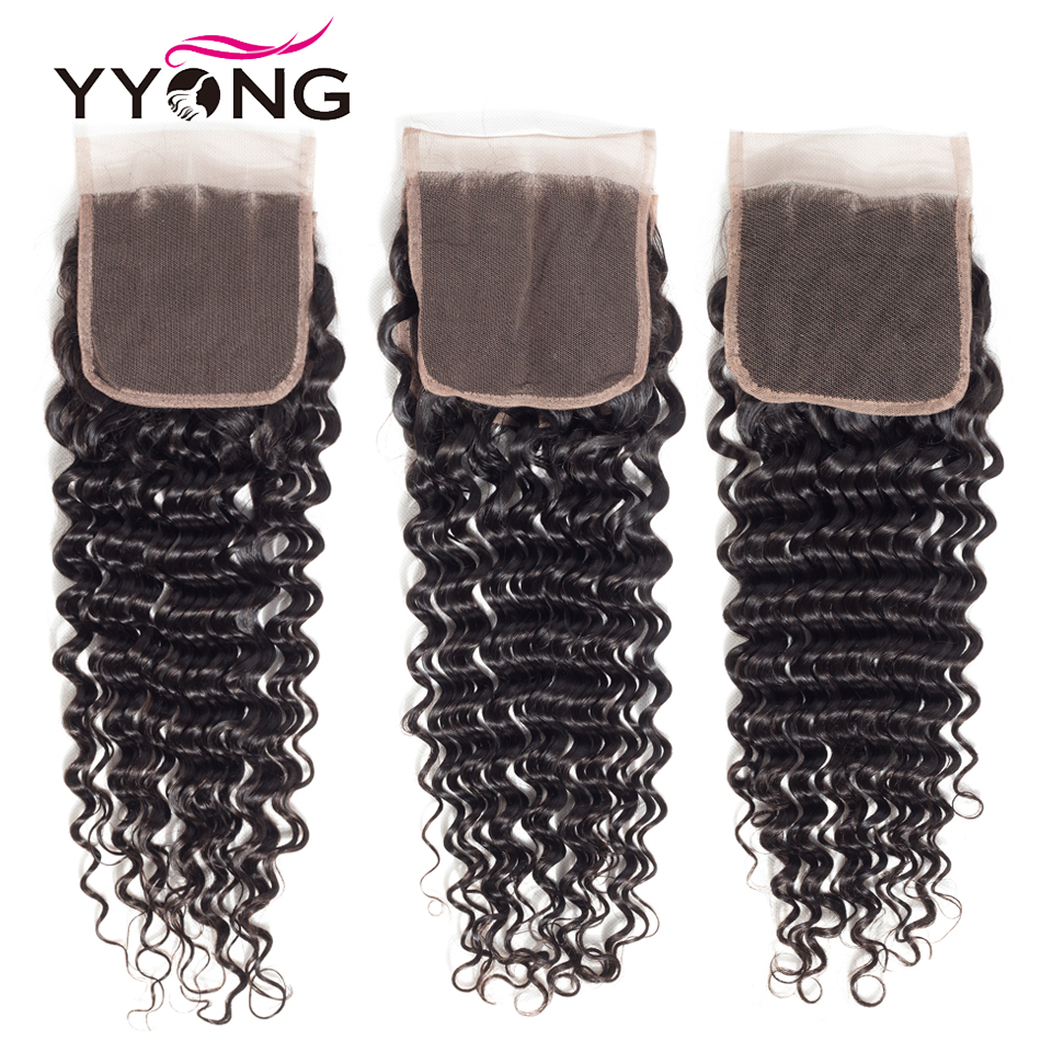 Yyong  Deep Wave Closure 4*4 Swiss Lace Free/Middle/Three Part  Natural Color  8-22 inches 2