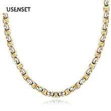 USENSET Charm  Mens Necklace Stainless Steel Fashion Byzantine Chain Gold Color Silver Jewelry 5.5-6.2MM