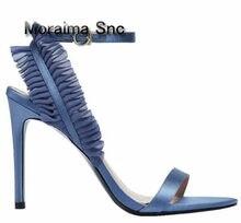 Moraima Snc Marca Diseño azul negro Zapatos mujer Sandalias verano plisado  Delgado talones sandalias estilo italiano d75986cd0ffd