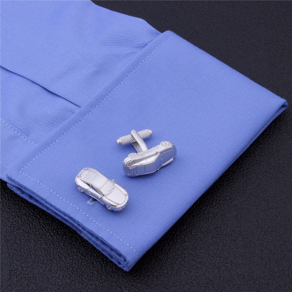 HAWSON Interesting Car Cufflinks High Quality Men Matte Cufflinks Silver Color Personalized