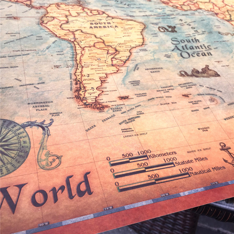 Vintage World Map Canvas Print Or Paper Prints Oil Painting Retro - Plain world map to print