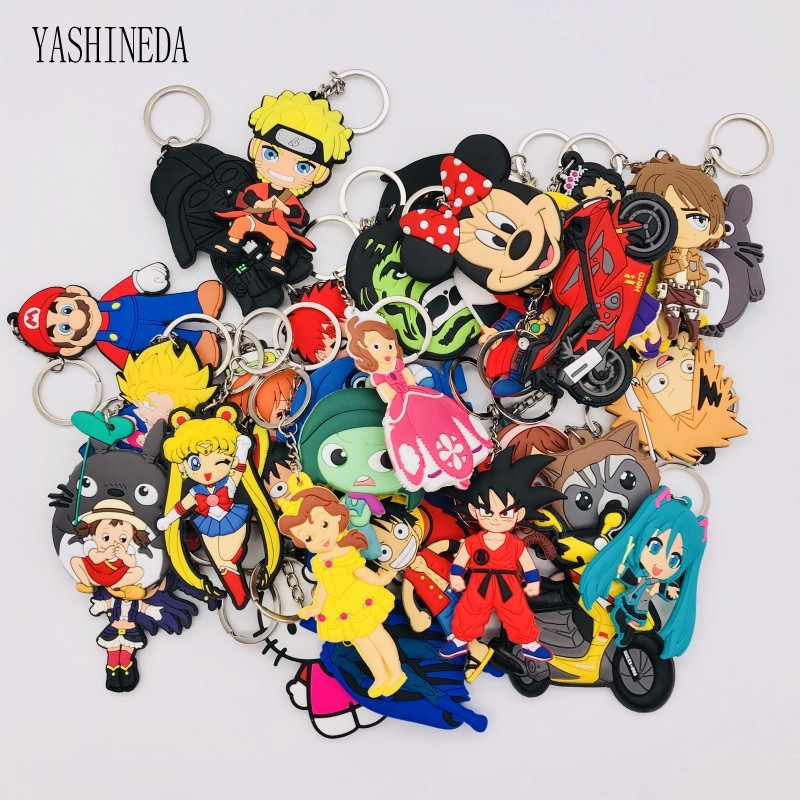 Randomly Lot of 10 Anime Cartoon Metal Keychain Key Ring Xmas Gift Set