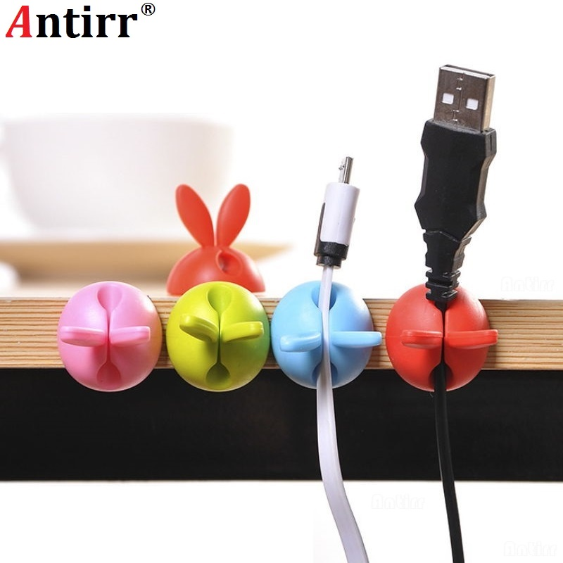 Cable Winder Consumer Electronics Dynamic 4pcs Bunny Charger Wire Cord Organizer Clip Rabbit Ears Cable Winder Tidy Desk Earphone Fixer Bobbin Clamp Ties Collation Holder