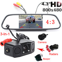 Car HD 4.3 Inch Rearview Mirror Monitor CCD Video Auto Parking Assistance LED Night 3 in 1 Car Parking sensor Rear View Camera цена
