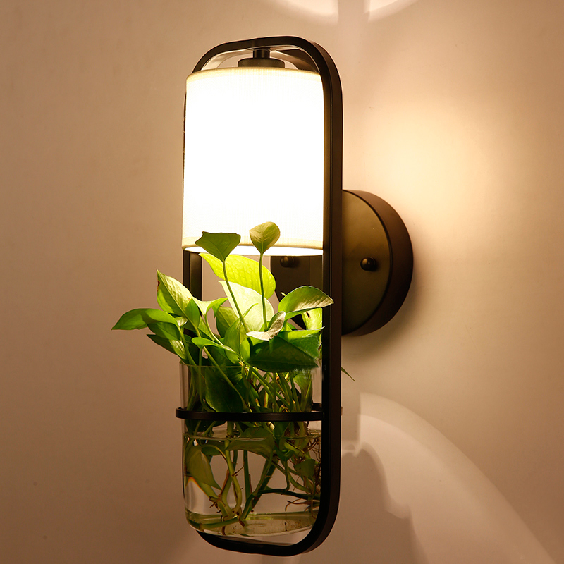 New Sale Modern Chinese Style Plant Living Room Bedroom Bedside LED Wall Lamp Iron Glass Hotel Aisle Decor Lights Freeshipping baofeng 5r lengthened 128 ch walkie talkie w 3800mah li ion battery black