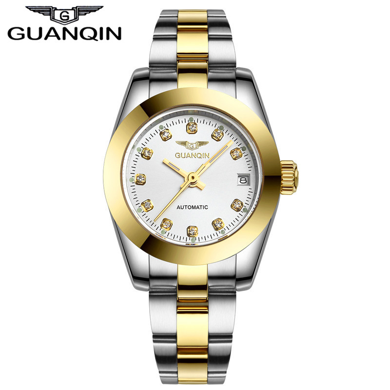 купить Top Luxury Brand Watch Original GUANQIN Women automatic mechanical watches Waterproof Diamond sapphire Women gold watch women по цене 5405.8 рублей