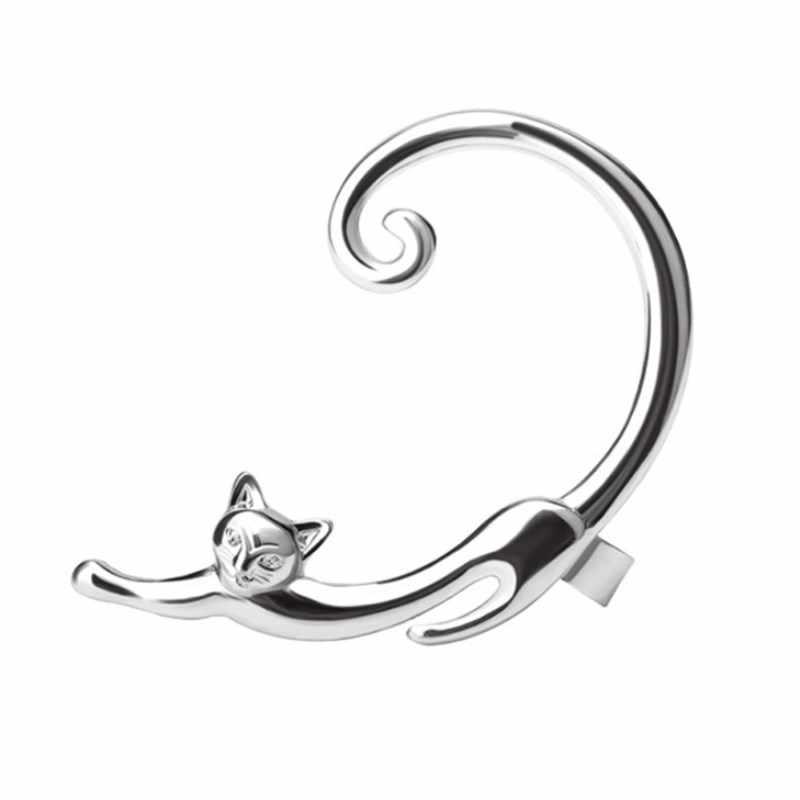 EK357 pièce unique Style Punk or argent plaqué chat Post boucle d'oreille bande dessinée oreille manchette Rock Animal noir Stud boucle d'oreille femmes