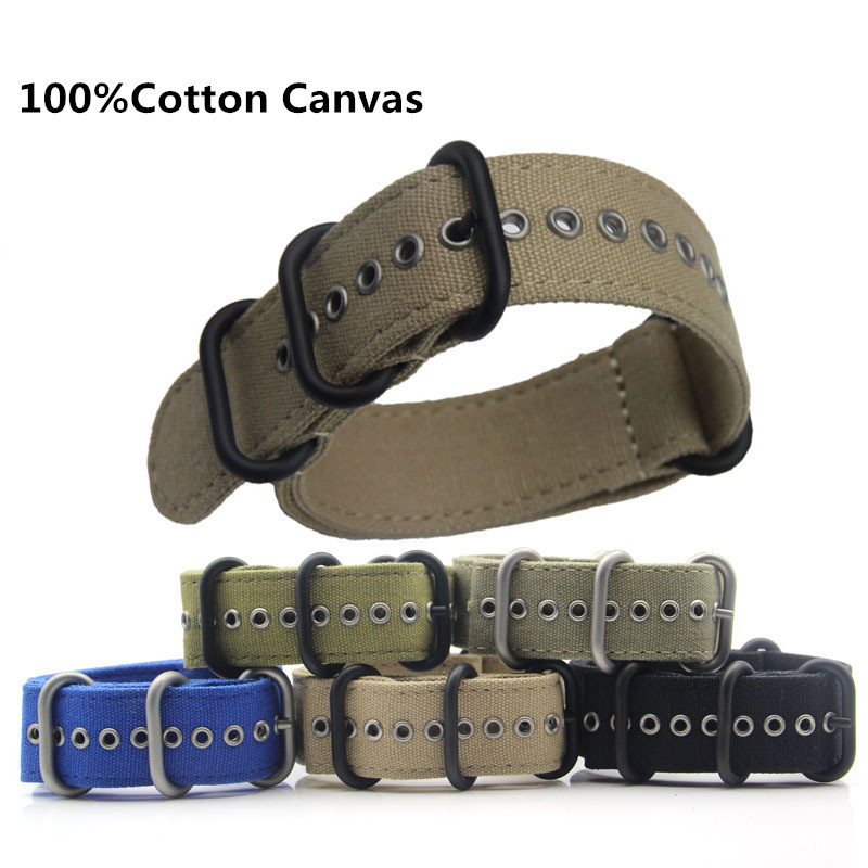 18mm 20mm 22mm 24mm High-grade Canvas NATO Strap Outdoor Sports Thick Nylon Strap Waterproof Watch Band For Watch  9.21