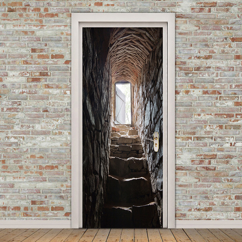 PVC Self-Adhesive Waterproof Wallpaper 3D Stereo Stairs Photo Wall Mural Door Sticker Living Room Personality Home Decor Sticker