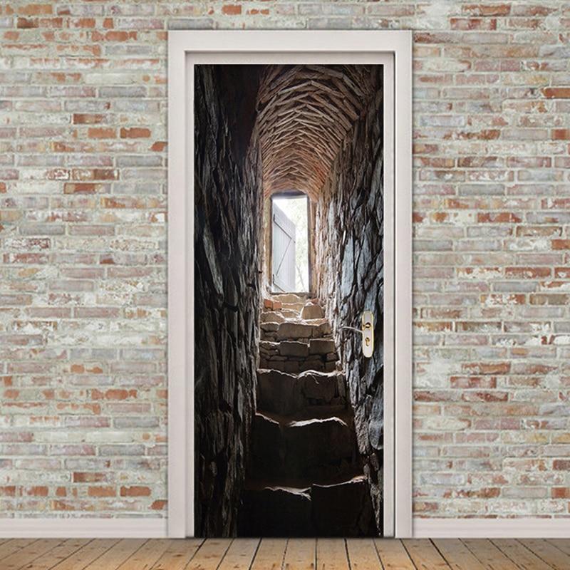 Pvc Self Adhesive Waterproof Wallpaper 3d Stereo Stairs