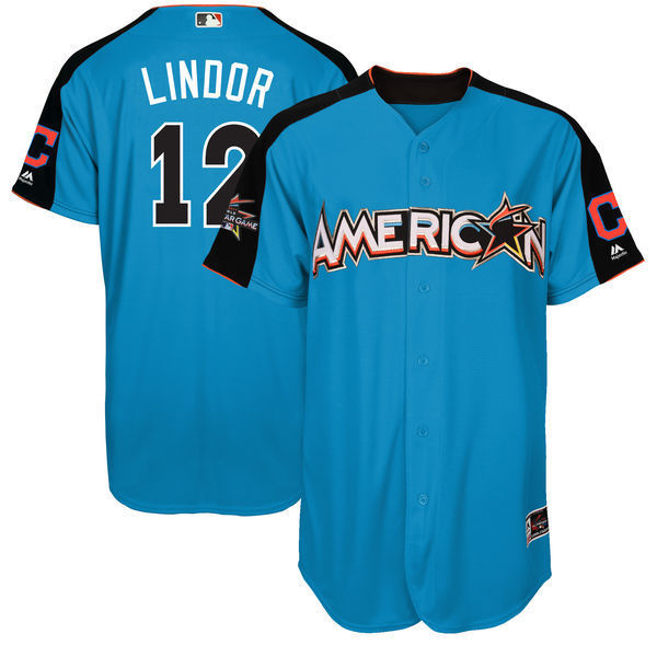 MLB Mens American League Francisco Lindor Baseball Blue 2017 MLB All-Star Game Authentic Home Run Derby Jerse