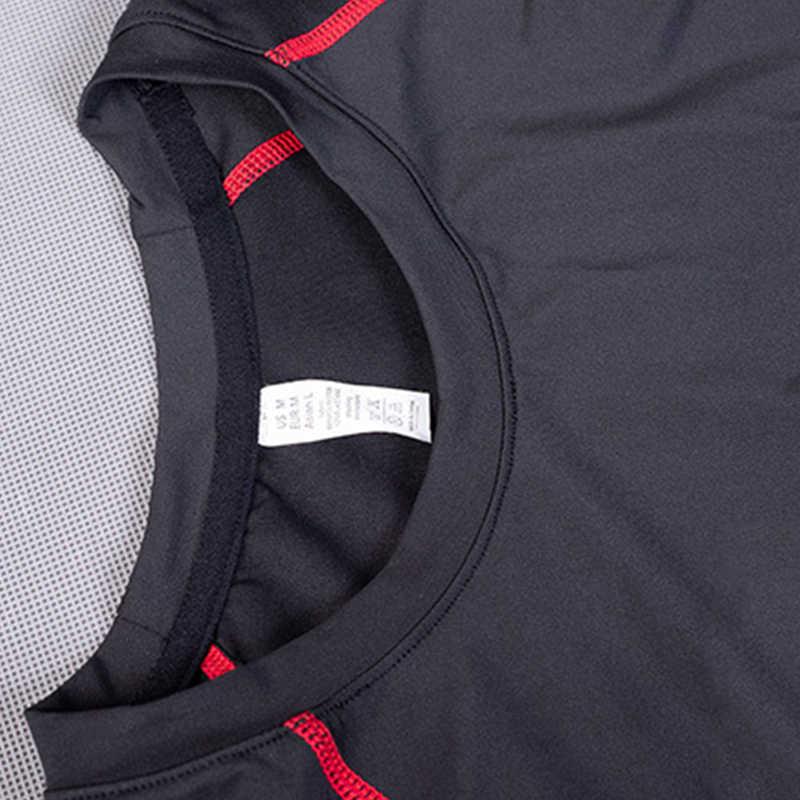2019 Pria Kompresi Pakaian Latihan Yg Hangat Kebugaran Ketat Pakaian Olahraga Lengan Panjang T-Kemeja + Legging 2 Pcs Menjalankan Set Cepat Kering gym Olahraga Suit
