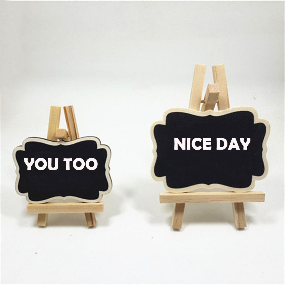 2pcs Mini Unique Wooden Blackboard Message Card Presentation Chalkboard Display Stand Label Signs Note Pad Desk Accessories