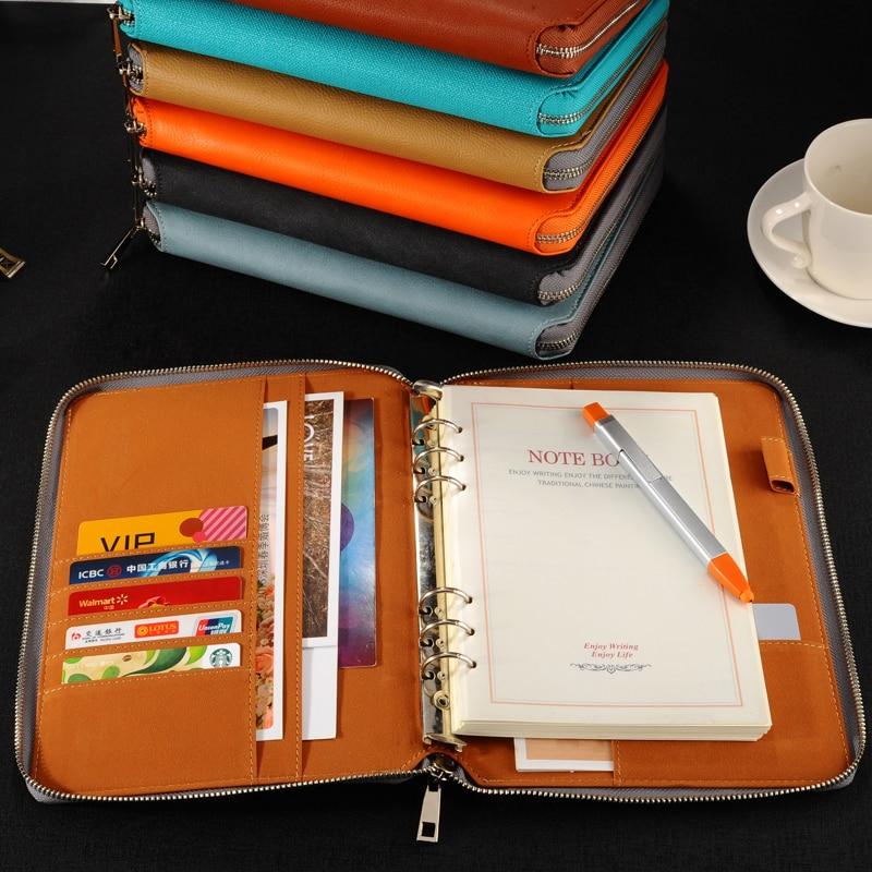A5 leather spiral notebook,Zipper binder agenda planner organizer,Macaron large capacity office padfolio document organizer(China)