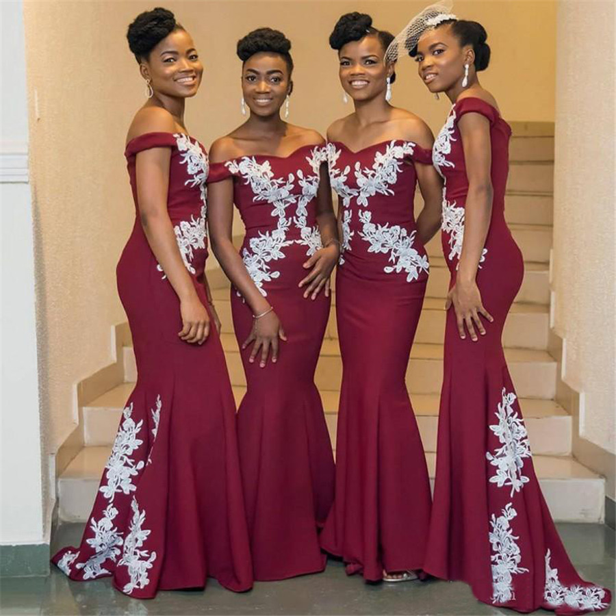Burgundy Long   Bridesmaid     Dress   With White Lace 2019 Elegant Boat Neck Off The Shoulder Floor Length African Wedding Party Gowns