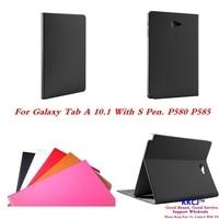 ZP Ultra Slim P580N P585N Genuine Leather Folio Stand Case For Samsung Galaxy Tab A A6