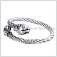New Style Men Women Leopard Head Cuff Bangle 316L Stainless Steel Silver Wire Cable Chain Tone