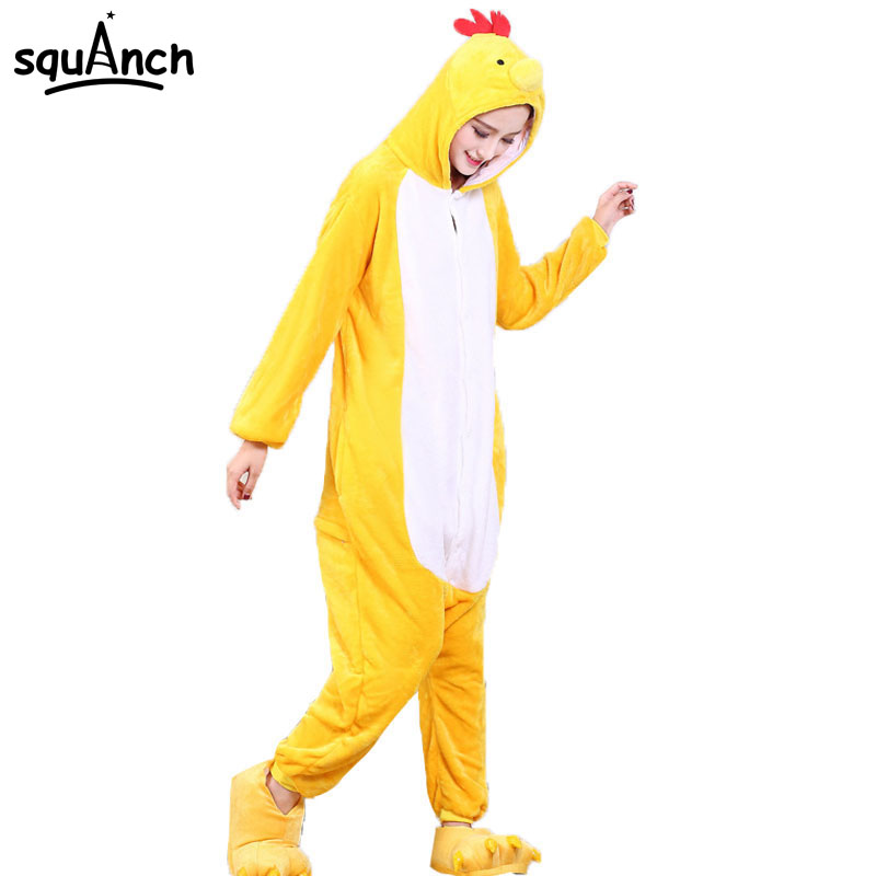 Adult Onesie Chicken Kigurumis Pajamas Animals Chick Loose Long Sleeve Jumpsuit Unisex Funny Cute Party Suit Yellow Flannel Warm
