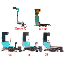 """1pcs Charging Flex Cable For iPhone X 5 5S SE 6 6S 8 4.7"""" USB Charger Port Dock Connector With Mic Flex Cable"""