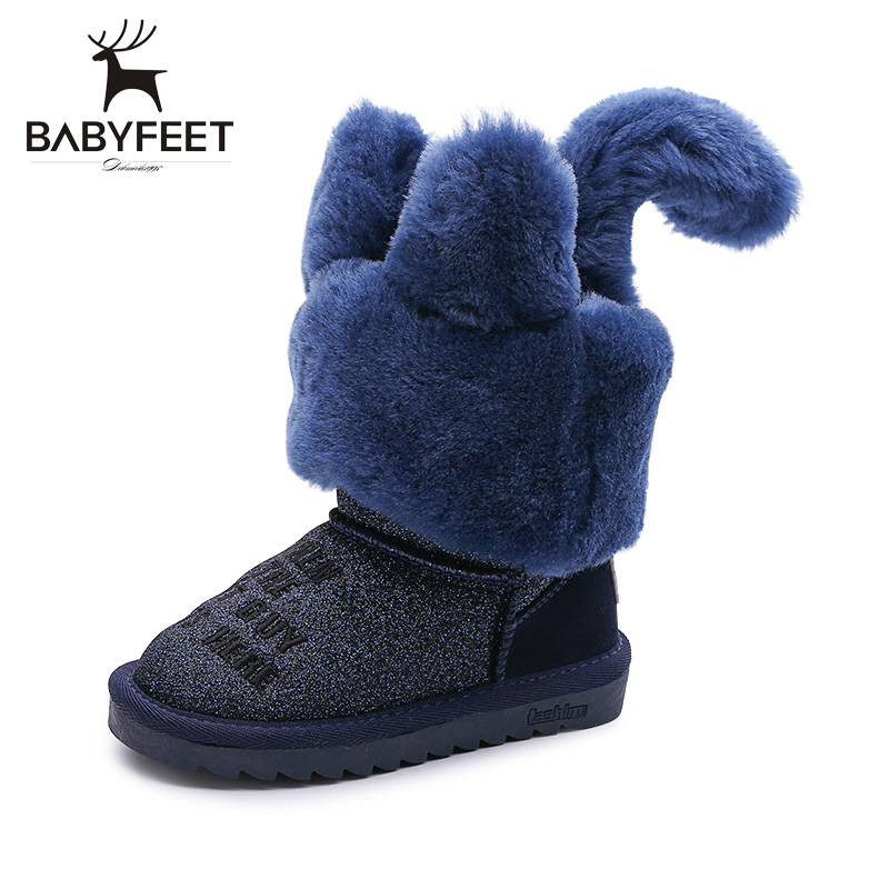 2017 babyfeet winter shoes girl children ankle Tassel snow kids boots princess girls leather toddler thick plush Warm sneakers