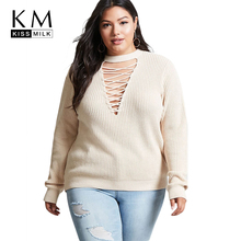 Kissmilk 2018 Plus Size Solid Women Sweater Hollow Out Crossed Large O-neck Female Clothing Big Sexy Lady Pullovers