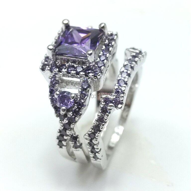 Sz5 10 White Gold Filled Princess Square Cut Women Wedding Ring Set