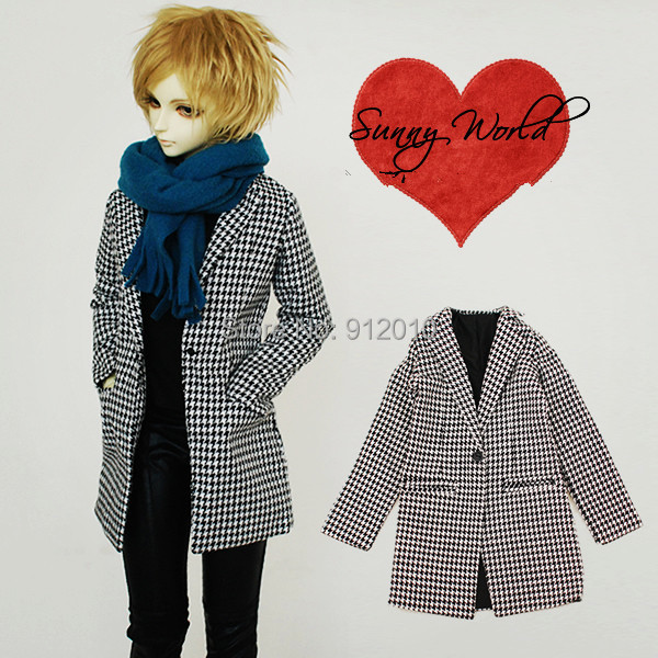 ФОТО Fashion Plaid Long Coat for BJD Doll  1/3  SD10,SD13 Doll Clothes CM27
