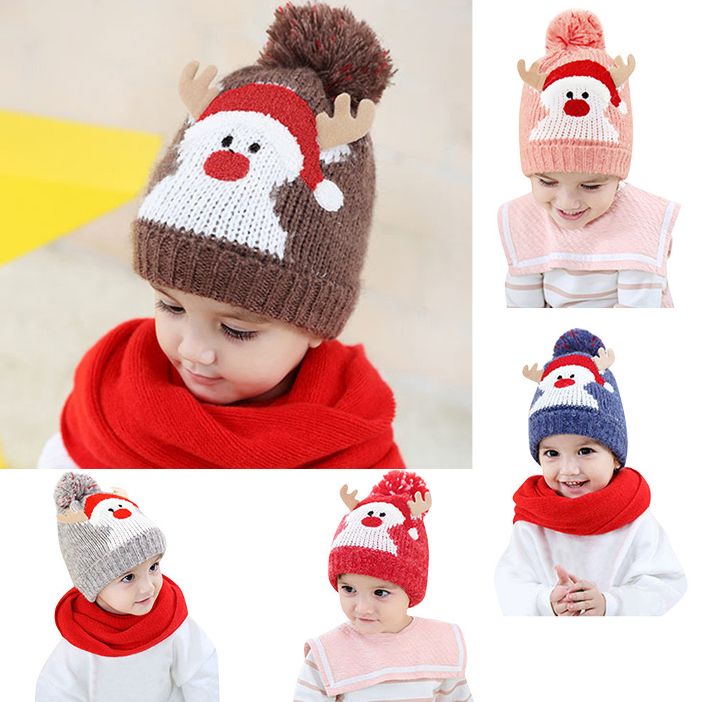 Baby Christmas Hats Kids Winter Beanie Caps For Boys Girls 2018 Fashion  Snowman Cap Cotton Knitted 3ad72645b77b