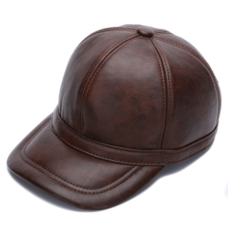 b72515a9e4d genuine leather men baseball cap hat high quality men s real leather adult  solid adjustable hats caps