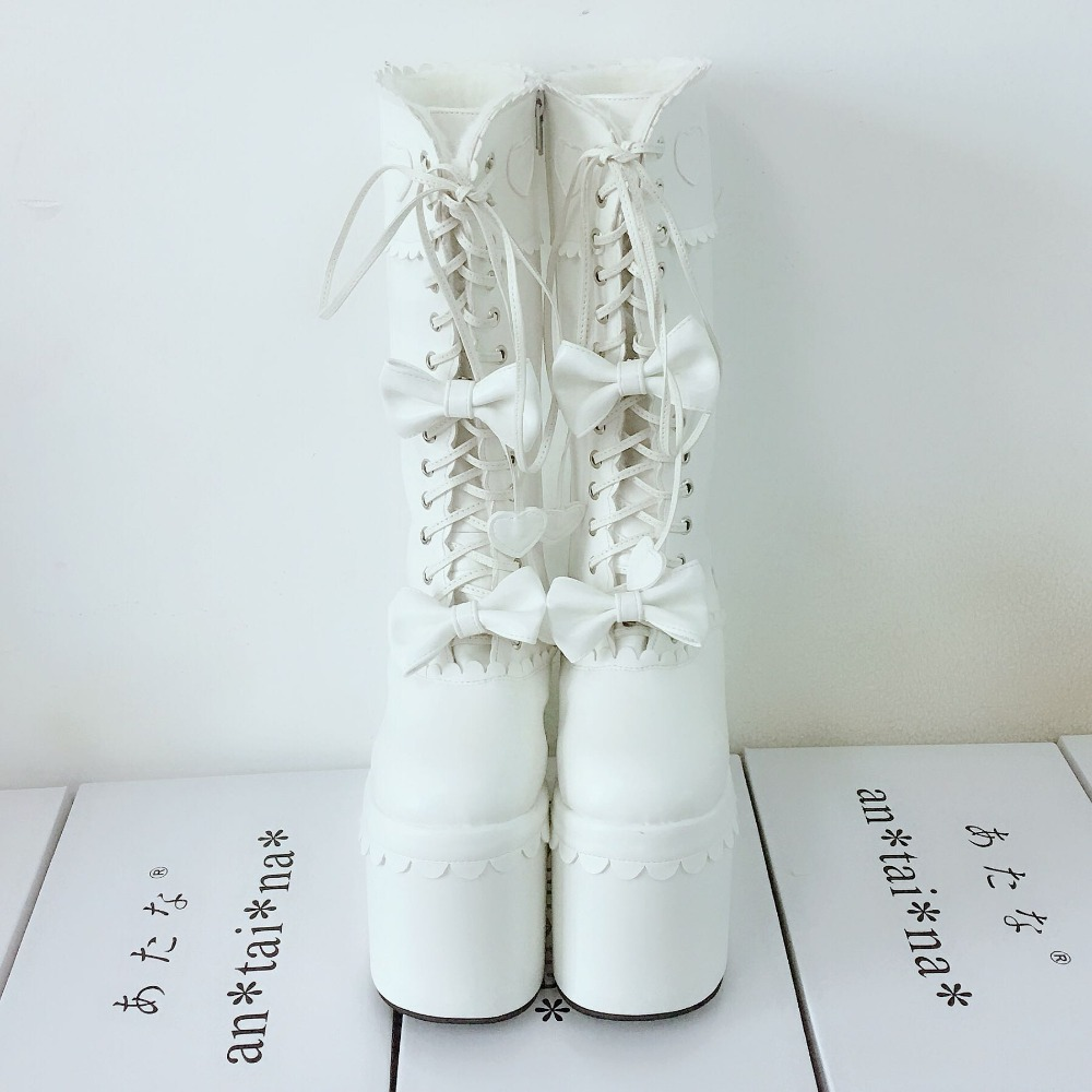 Sexy-Women-Winter-Knee-High-13cm-High-Platform-Party-Lace-Up-Lolita-Boots-Side-Zip-Bowknot-PU-Leather-Lolita-Show-Boots-Warm-4
