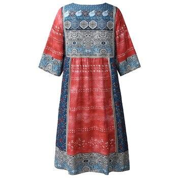 dress women Sexy Mini Dress Fashion Bohemian Party Print  V Neck Plus Size Loose Casual Mini Dress Y715 4