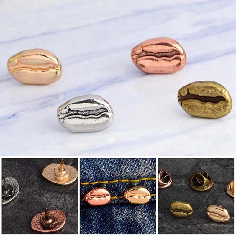 4 Warna Merah Cooper Perak Kuno Biji Kopi Enamel Pin Tas Ransel Jaket Jeans Perhiasan untuk Pria Wanita Aksesoris Wanita