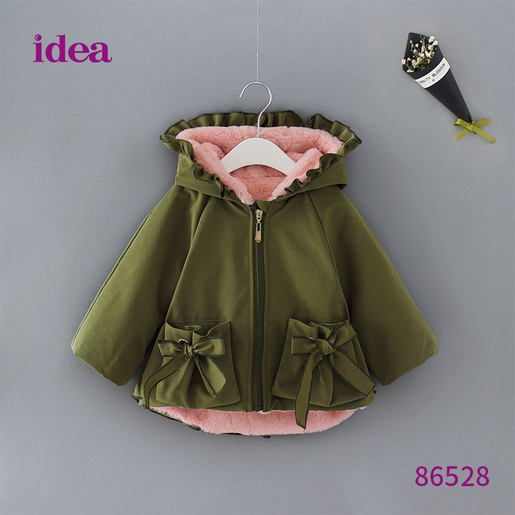 Autumn and winter new girls jacket Cute bow children thick warm cotton