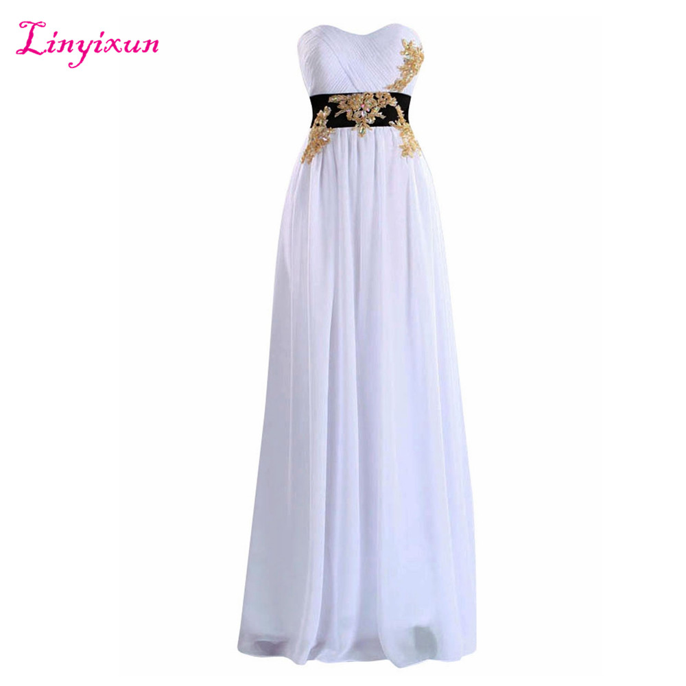 Linyixun Real Photo Cheap Chiffon   Prom     Dresses   2017 With Sashes New Arrival Sweetheart Appliques Beads Pleat Long Evening   Dress