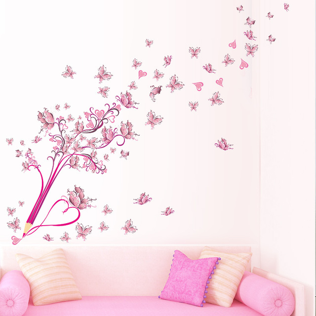 % Flying Pink Buttrfly Flower Blossom Blyant Tree Fjerne Living Room Girls Bedroom Wall Sticker DIY Innredning Dekal Mural