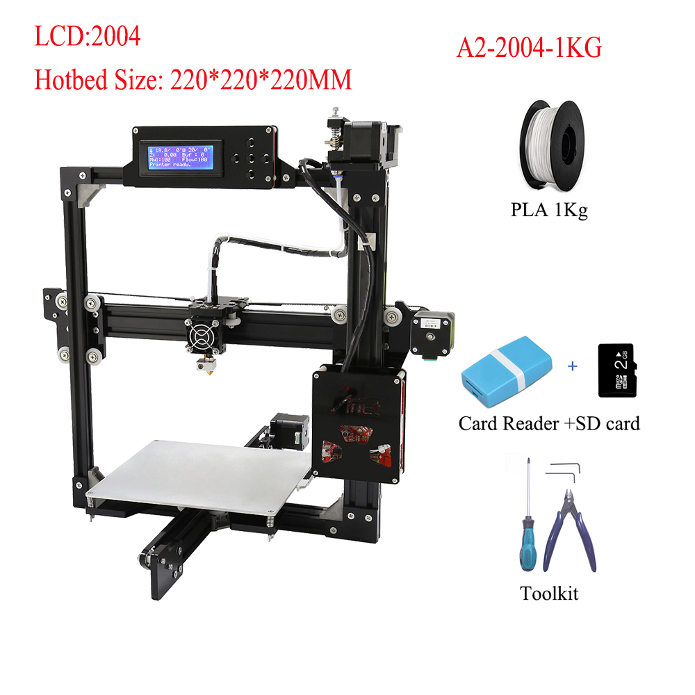 US $177 65 5% OFF|Anet A2 Cheapest 3d Printer High Precision FDM  Polypropylene 3d Printing DIY 3d Printer With Free SD Card 2004 LCD  Impressora 3d-in