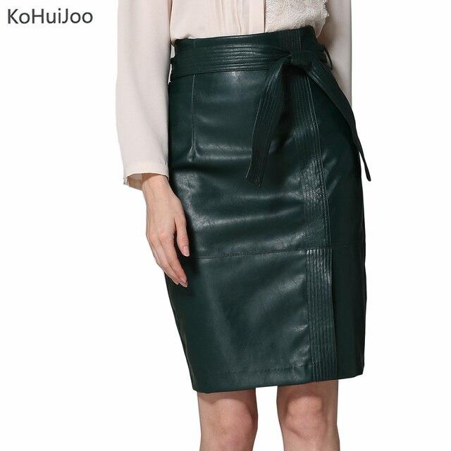 7c554443dad4 KoHuiJoo 2019 Autumn Winter Warm Plus Size Women Sexy Faux Leather Skirts  Vintage High Waist Female Office Pencil Skirt 4xl 3xl