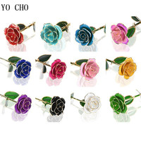 YO CHO LED 24k gold plated Rose Flores in Glass Cover Artificial Preserved Flowers Wedding Home Party Decor Valentines Day Gifts