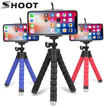 SHOOT Mini elastyczna gąbka Octopus statyw dla iPhone Samsung Xiaomi Huawei telefon komórkowy Smartphone statyw dla Gopro 9 8 7 aparat tanie i dobre opinie Smartphones CN (pochodzenie) Flexible Tripod Z tworzywa sztucznego 150mm Mini Camera Mobile Phone Tripod Holder Clip Stand