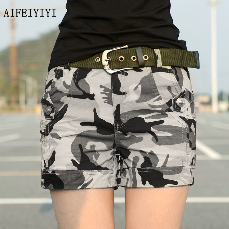 Summer 2017 Womens workout cotton Army uniform Combat hot shorts denim overalls Ladies Military camouflage cargo shorts