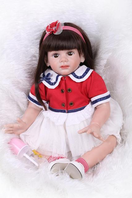 NPK Bebe Reborn lovely Girl Dolls 60 cm Realistic Soft Silicone Baby model photo props Kids Best Birthday Toys Xmas Gifts