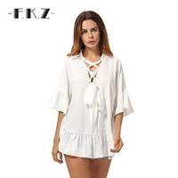 FKZ White Ruffles Hem Lace Up Chiffon Women Blouses Half Sleeve V Neck Sexy Blusa Girls