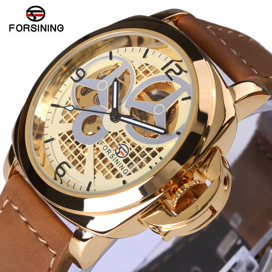 FORSINING Fashion Top Brand Luxury Wrist Watches Men Auto Mechanical Watch Brown Leather Strap Skeleton Dial 3D Index Design winner mens watches top brand luxury leather strap skeleton skull auto mechanical fashion steampunk wrist watch men gift box