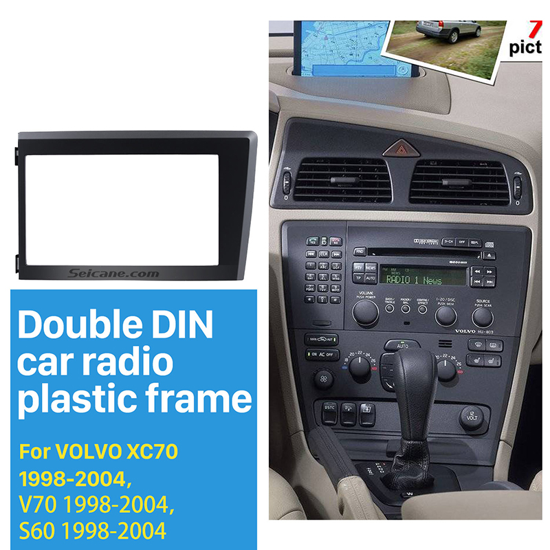 Seicane 2Din Car Radio Fascia for 1998 1999 2000 2001 2002-2004 Volvo XC70 V70 S60 Stereo Plate Trim Kit Frame Panel Dash CD