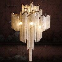 Таль двойная запись лестницы лампа инженерно Дизайн Роскошные цепи кисточкой Алюминий цепи подвесной светильник Италия Дизайн 100 240 В