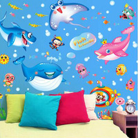 Free Shipping Removable Wallpaper Ocean Series Bathroom Decoration Blue Pink Dolphins Vinyl Wall Sticker Skids Rooms