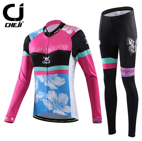Women Outdoor Cycling Jersey Set Butterfly Bike Bicycle Long Sleeve Jersey Pants teleyi men cycling jersey bike long sleeve outdoor bike jersey bicycle clothing wear breathable padded bib pants set s 4xl