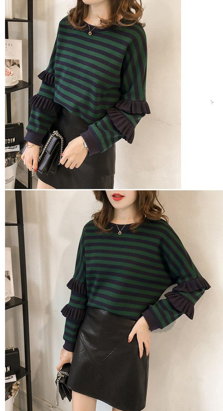M-4xl Striped Sweatshirt Pullovers Women Plus Size Spring Autumn Ruffles Long Sleeve Tops Casual Harajuku Feminino White Green 18
